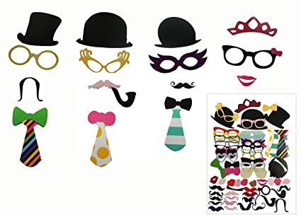 58pcs Photo Booth Props Creative Fun Party Favor Set for Wedding Birthday  Reunions Dressup Costumes with ce590f505af