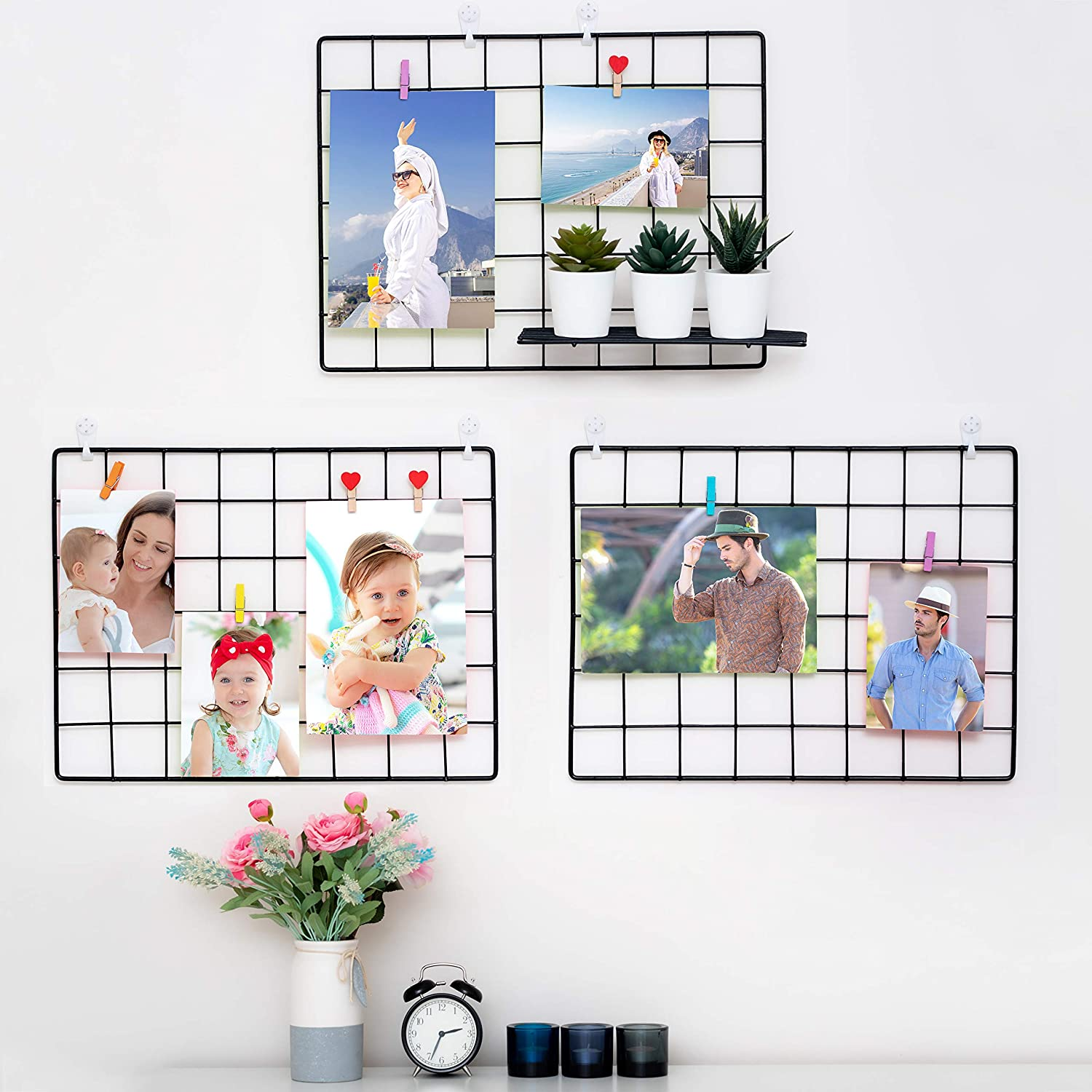 3 Pack Wall Grid Wire Panel   Photo Display Gridwall   Metal, Black & Magnetic Panels   Mesh Storage Organizer & Picture Frame   Hanging Home, Office & Kitchen Decor