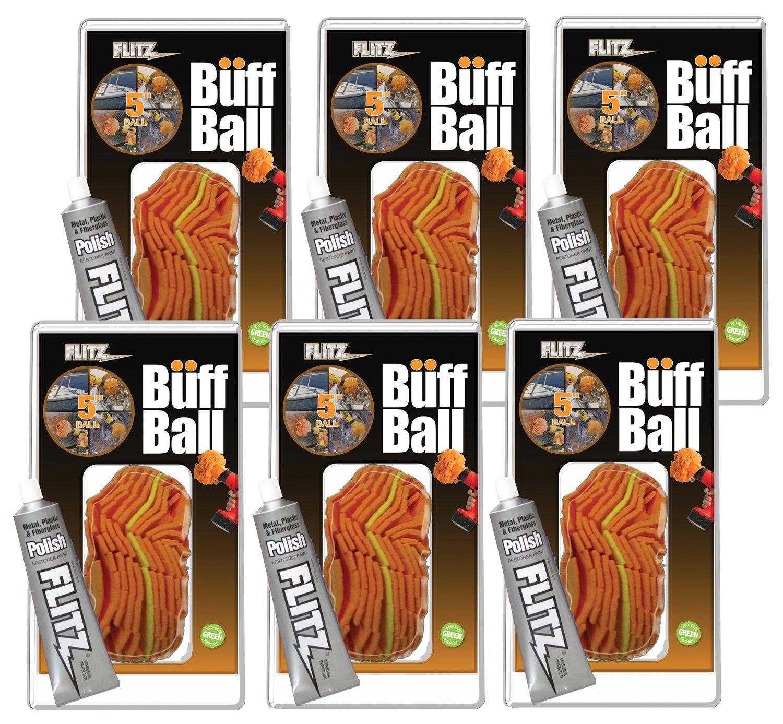 Flitz PB101-50-6A Orange Large Original Buff Ball, 5-Inch, 6-Pack