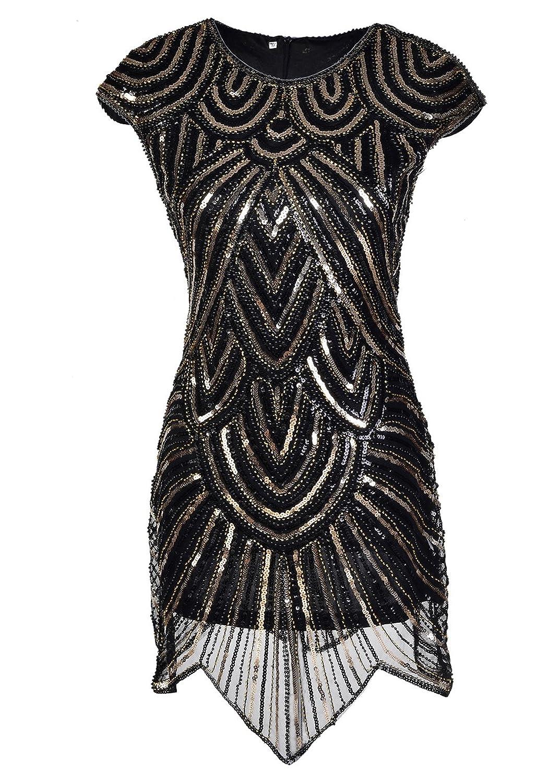 Women 1920s Great Gatsby Sequined Irregular Hem Mini Flapper Dress
