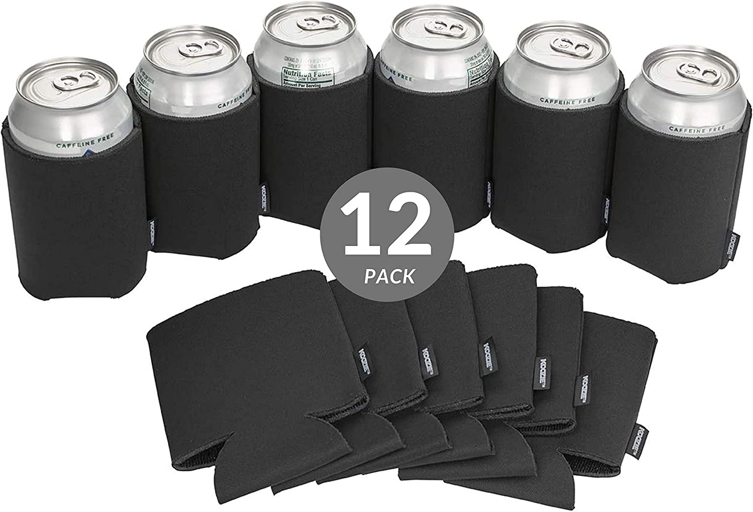 Koozie Can Cooler Blank Beer Koozie for Cans and Water Bottles, Bulk DIY Insulated Beverage Holder Personalized Gifts for Events, Bachelorette Parties, Weddings, Birthdays (Black, 12)