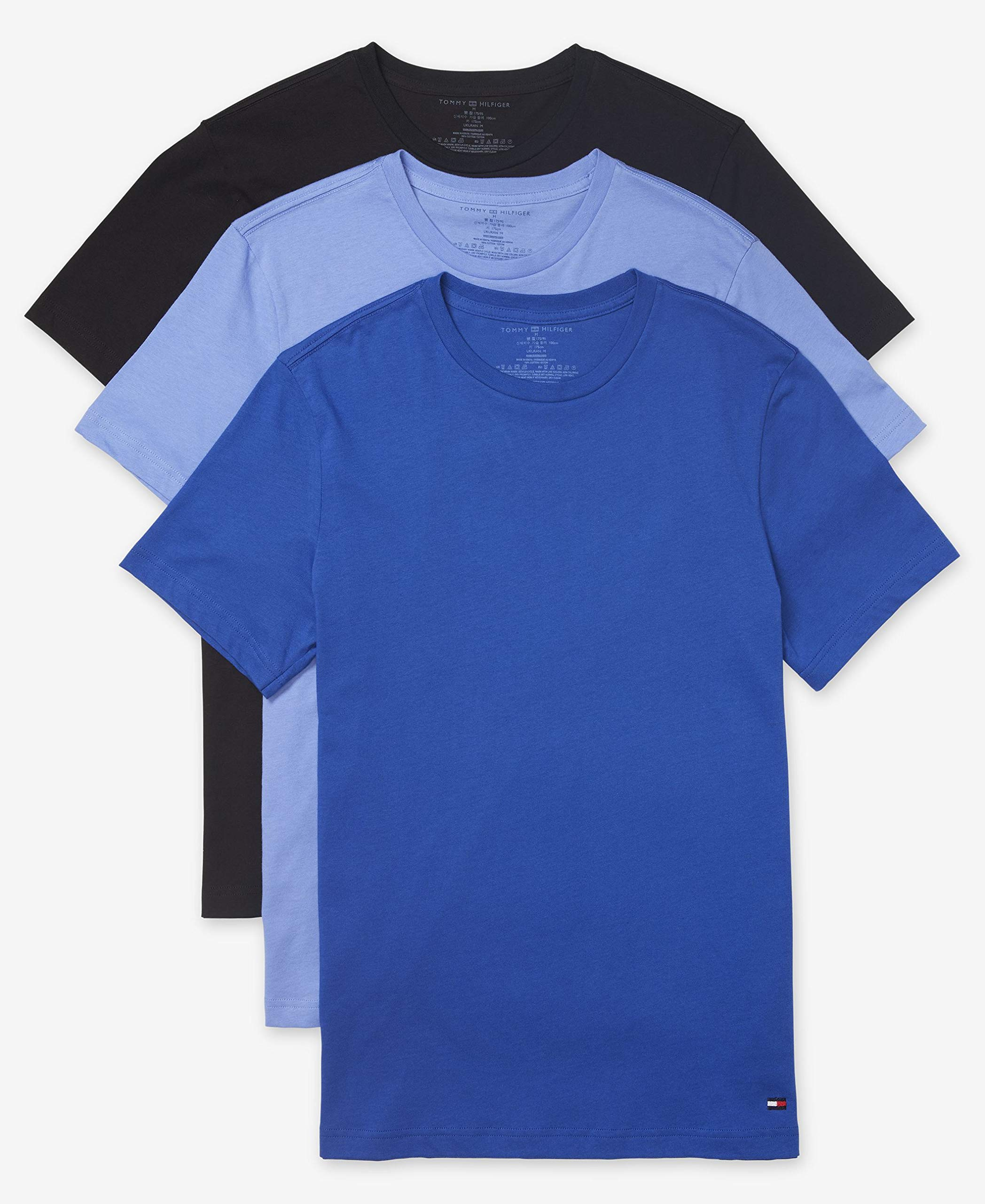 Tommy Hilfiger Men's Undershirts Multipack Cotton Classics Crew Neck T-Shirt, Ink Blue (Multi 3 Pack), X-Large by Tommy Hilfiger