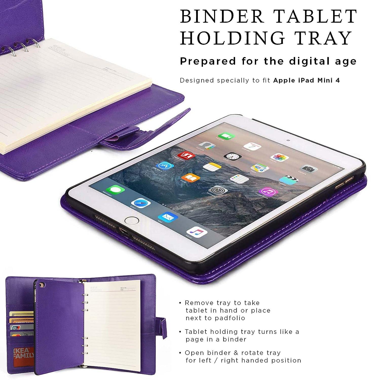 Funda para Apple iPad Mini 4 con Cuaderno, Cooper FOLDERTAB Carcasa Tipo Cartera con planificador, libreta y Bolsillos para Zurdos y diestros (Púrpura): ...