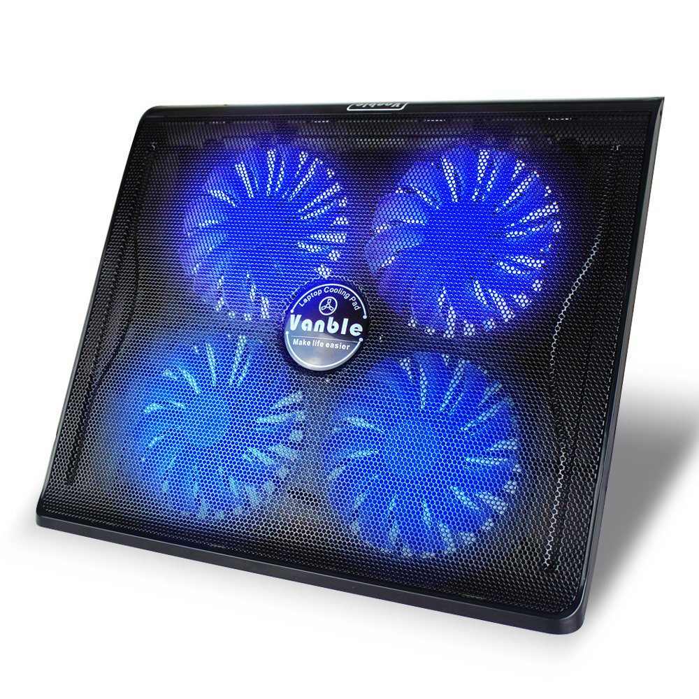 Vanble VA-1 15.6''-17.3'' 4 Fans Dual USB Port Portable Laptop Cooling Pad with Blue LED Fans and Adjustable Height Setting, Black
