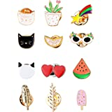 THUNARAZ Brooch Pins Sets Cute Enamel Cartoon Lapel Pins Animal Badge for Women for Clothing Bag Decor