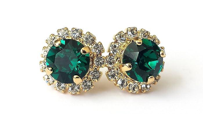 4466a7387 Amazon.com: Swarovski Emerald Stud Earrings Green Crystal Rhinestone Post:  Handmade
