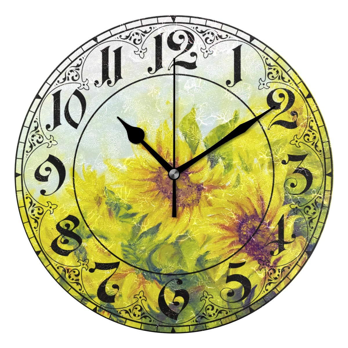 WellLee Sunny Sunflowers Painting Clock Acrylic Painted Silent Non-Ticking Round Wall Clock Home Art Bedroom Living Dorm Room Decor