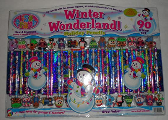 Brand New! Lisa Frank Lot of 12 Christmas Pencils with Speciality Erasers