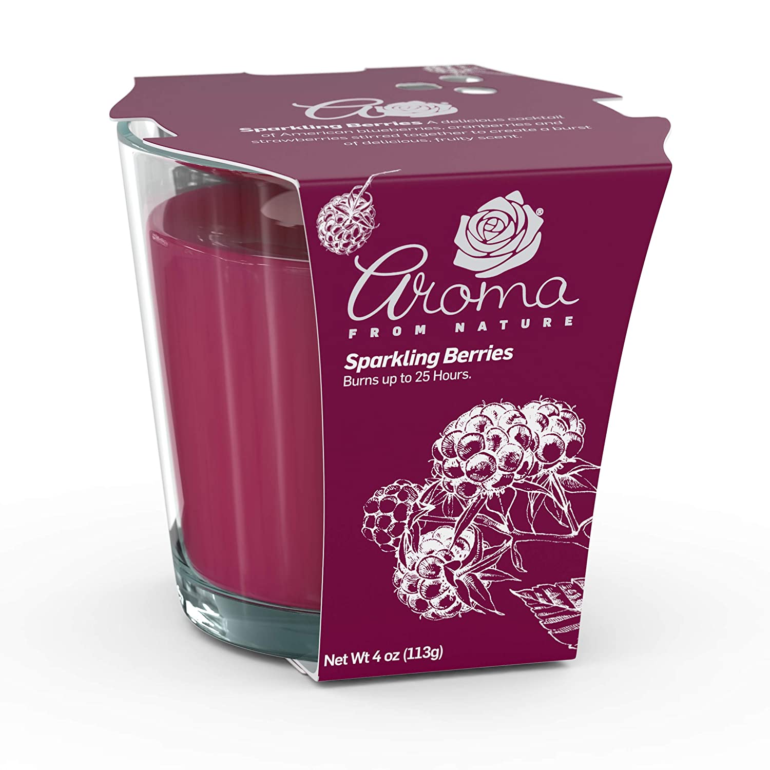 Aroma From Nature Sparkling Berries 4 oz AireCare Scented Candle - 1 Pack - Aromatherapy Candles - Home Fragrance - Apothecary Glass With Single Wick