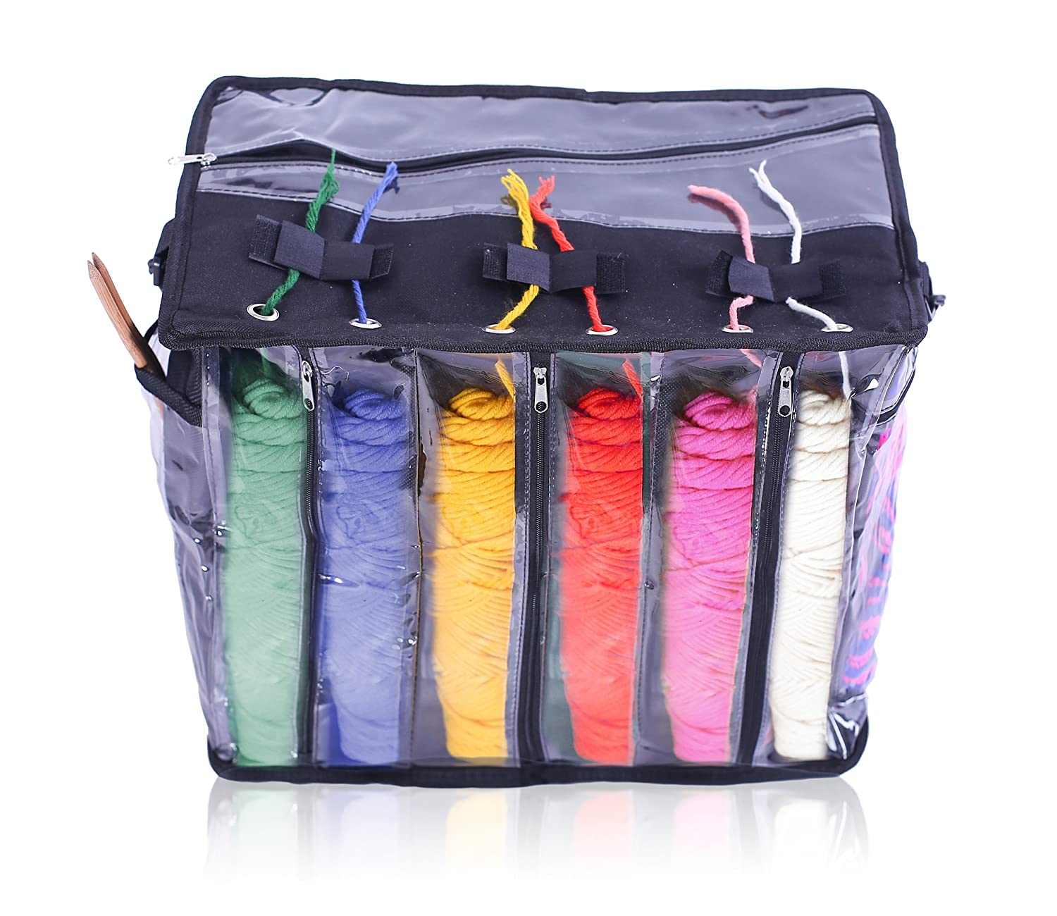 aba91cb38aaf Imperius Yarn Storage Bag Portable Tote Easy to Crochet Knitting  Organization.Storage for Accessories and Slits on Top to Protect Wool and  Prevent Tangling