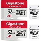 Gigastone 32GB 2-Pack Micro SD Card, Camera Plus, Nintendo Switch Compatible, High Speed 90MB/s, Full HD Video Recording, Mic