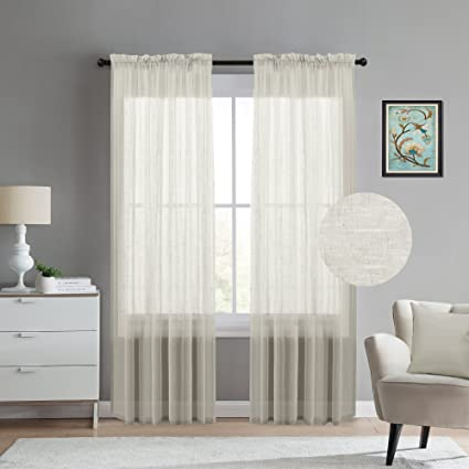 Turquoize Linen Blended Sheer Window Curtains For Living Room Curtain Drapes 108 Inches Long Rod Pocket
