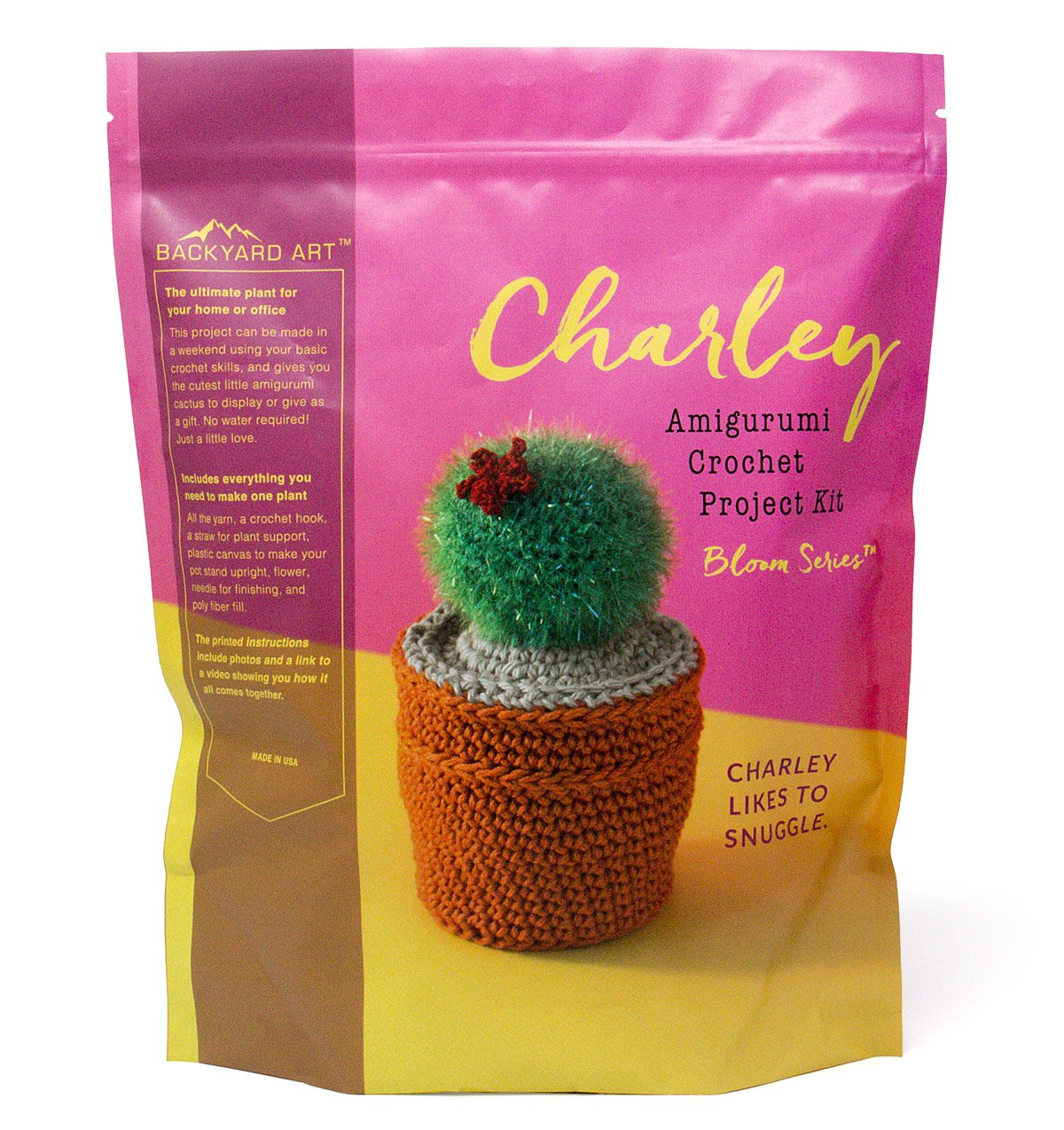 Charley The Cactus Crochet Kit an Amigurumi DIY Craft Project with Everything Including a Hook, Pattern, Yarn, Needle and Video Instructions - Easy to Learn DIY Gift Kits LIL Bear Global Backyard Industries BC-2