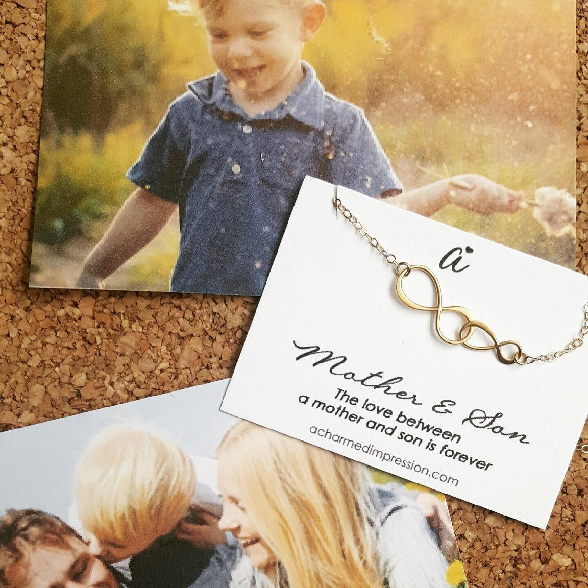 Mother and Son Necklace /• Personalized Boy Mom Gift /• Sterling Silver Double Infinity /• Infinite Love