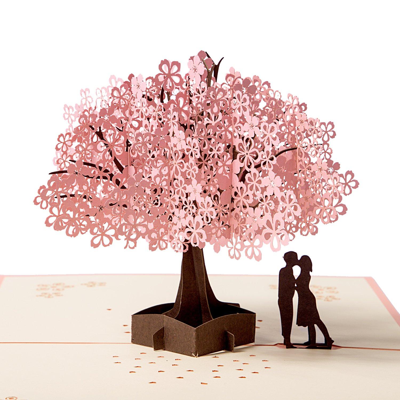 Biglietto d'auguri Carta 3D Compleanno Romatico, Pop up Carta Anniversario, Carte Regalo di Natale Cling