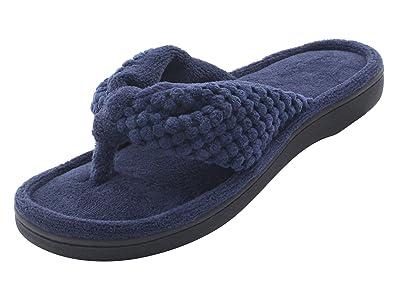 cecfc54846715 HushWear Women s Cozy Memory Foam Plush Gridding Velvet Lining Spa Thong  Flip Flops Clog Style House