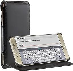StilGut UltraSlim V2, Housse, étui, Coque avec Fonction de Support pour Samsung Galaxy S6 Edge+, en Noir Vintage
