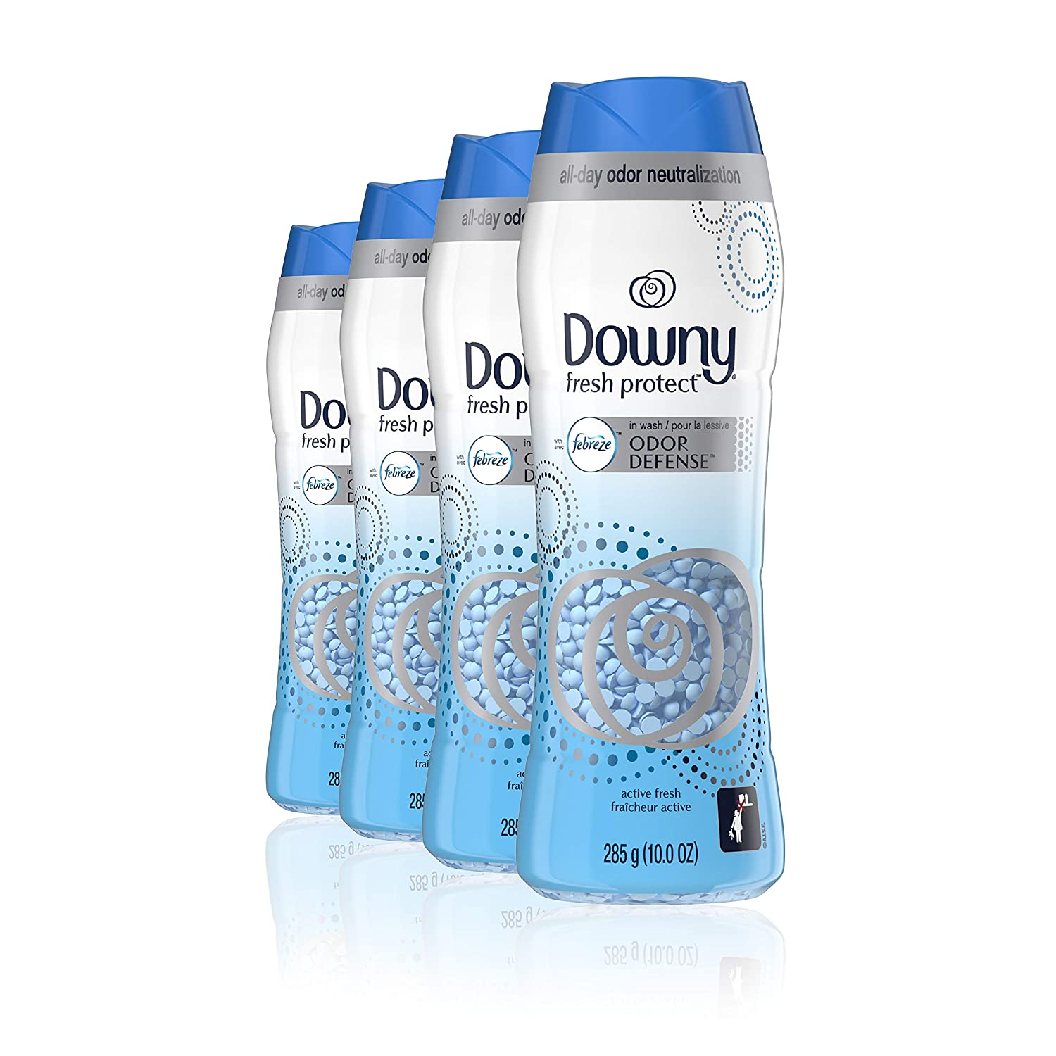 Downy Fresh Protect in-wash Scent Booster Beads, Active Fresh, 10 Ounce, Pack of 4