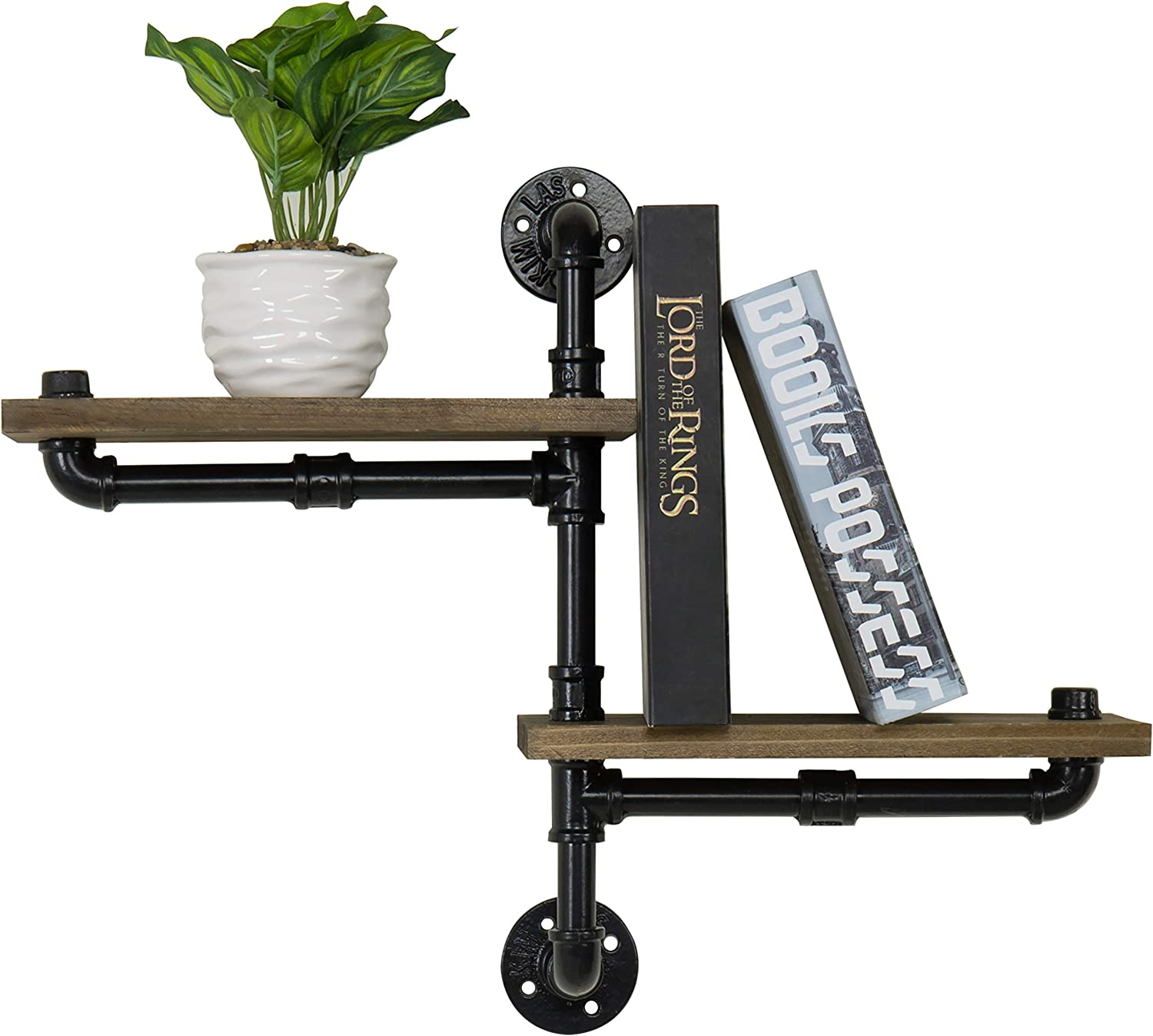 MyGift Wall-Mounted Industrial Pipe and Rustic Wood 2-Tier Display Shelf