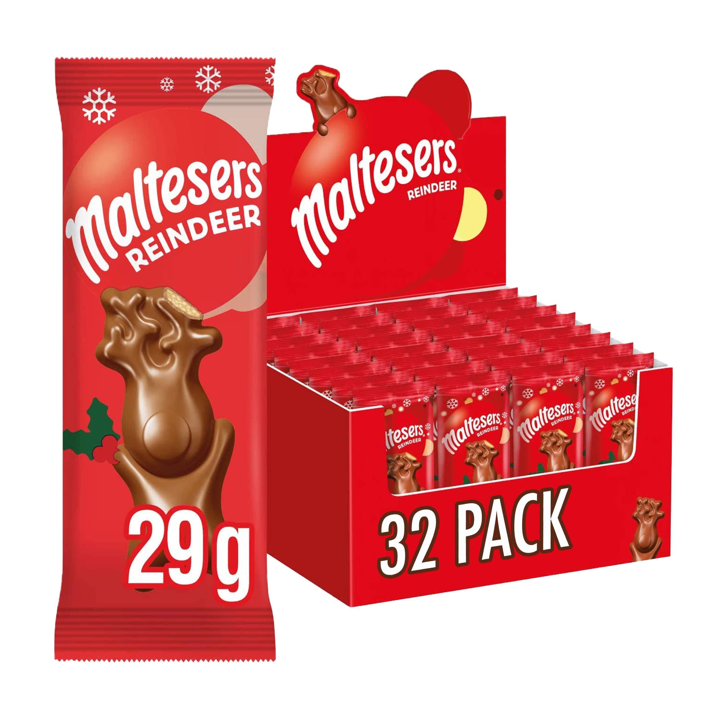 Maltesers Reindeer, Christmas Chocolate Stocking Fillers, 32 Packs of 29 g