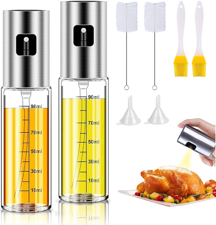 Olive Oil Sprayer for cooking Refillable Spray Bottle, Food Grade Material Versatile Glass for Cooking, Kitchen BBQ, MakingSalad, Baking, Grilling 【2Pack】