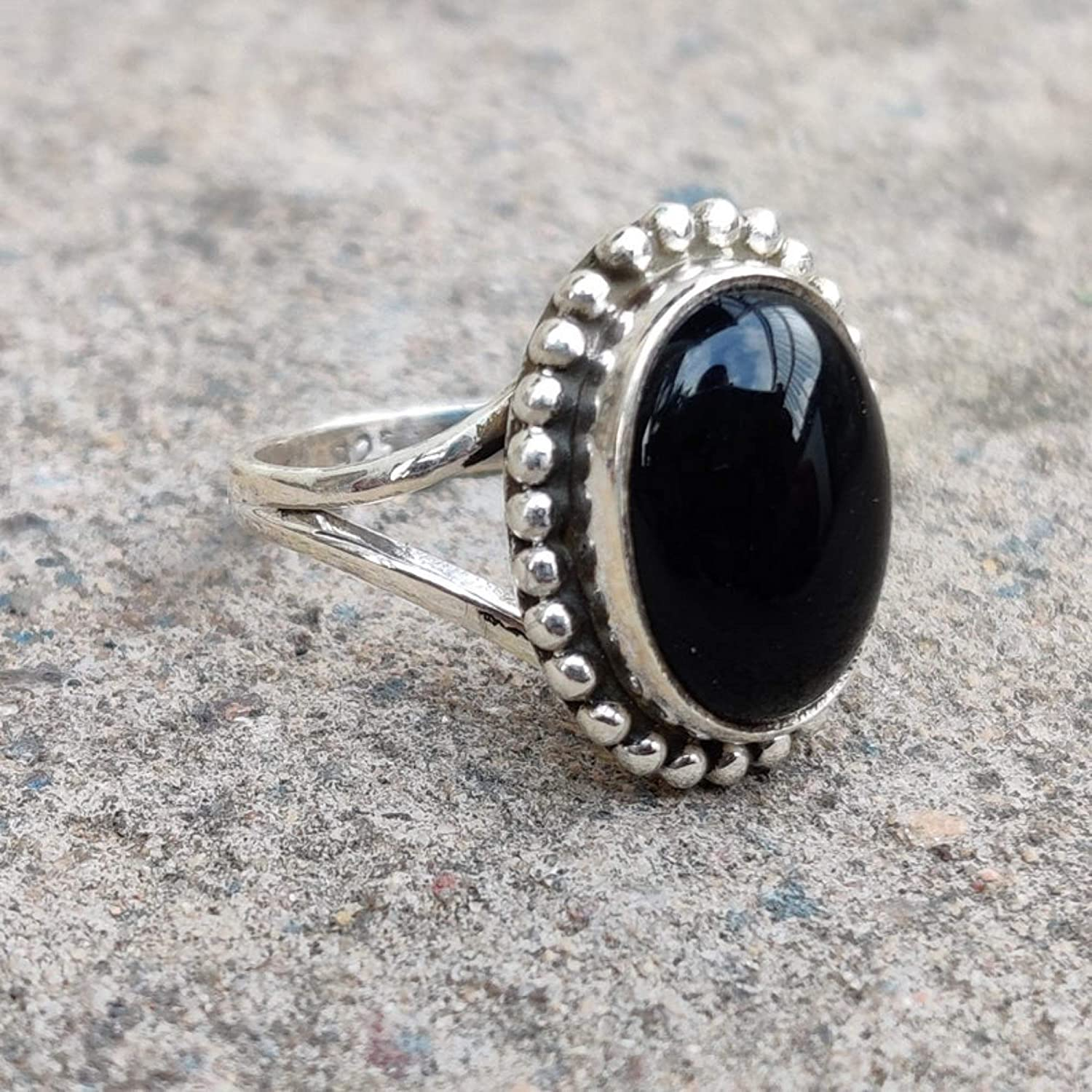 Black Stone Onyx Rings Size 6 7 8 9 10 925 Sterling Silver Statement Rings For Women Girl Birthday Christmas gifts