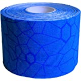 TheraBand Kinesiology Tape, Waterproof Physio Tape for Pain Relief, Muscle Support, and Injury Recovery, Standard Roll with XactStretch Application Indicators, 2 Inch x 16.4 Foot Roll, Blue/Blue