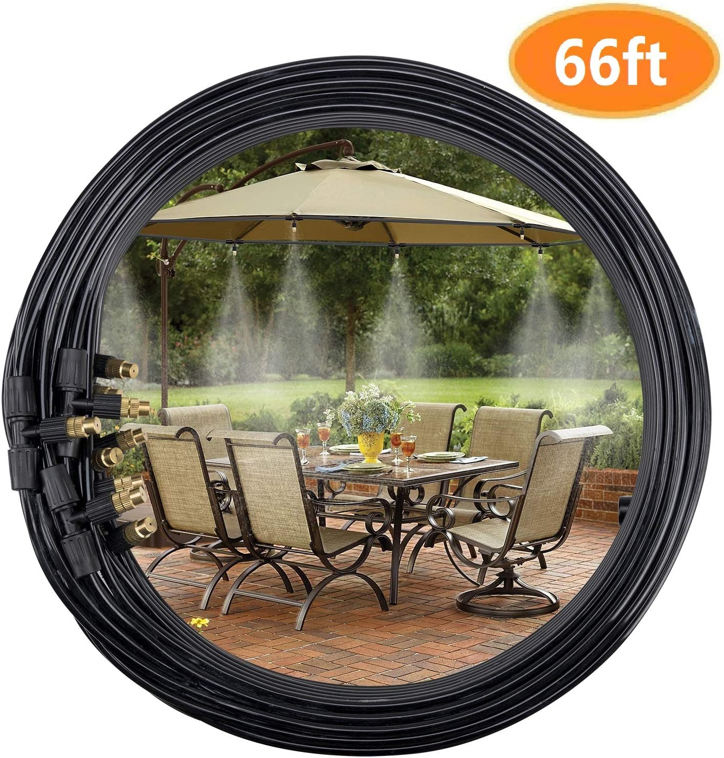 3//4 Misting Line 5 Copper Metal Mist Nozzles a Copper Metal Connector Fit to Any Outdoor Fan 6M Black Color VICKERT Outdoor Mist Cooling System Fan Kit for a Cool Patio Breeze 20FT