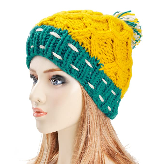 ZLYC Women Fashion Multi Neon Color Block Winter Warm Knit Ball Yarn Beanie  Hat Yellow 1faaaf4d0