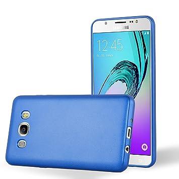 Cadorabo Carcasa Compatible con Samsung Galaxy J7 2016 (6) Funda en metálico Azul Funda Carcasa de TPU Silicona en Mate Metallic Carcasa de Silicona