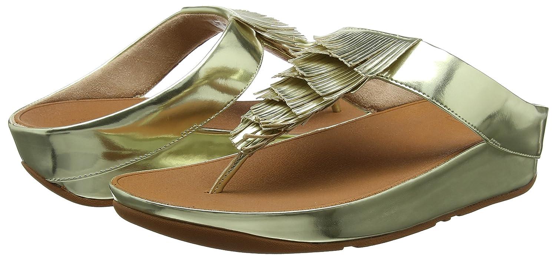 FitFlop Peeptoe Damen Metallic Cha Fringe Toe-Thong Peeptoe FitFlop Sandalen, Gold (Gold 10) 3e8300