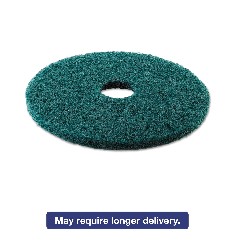 Boardwalk BWK4016GRE Standard Heavy-Duty Scrubbing Floor Pads, 16'' Diameter, Green (Case of 5)