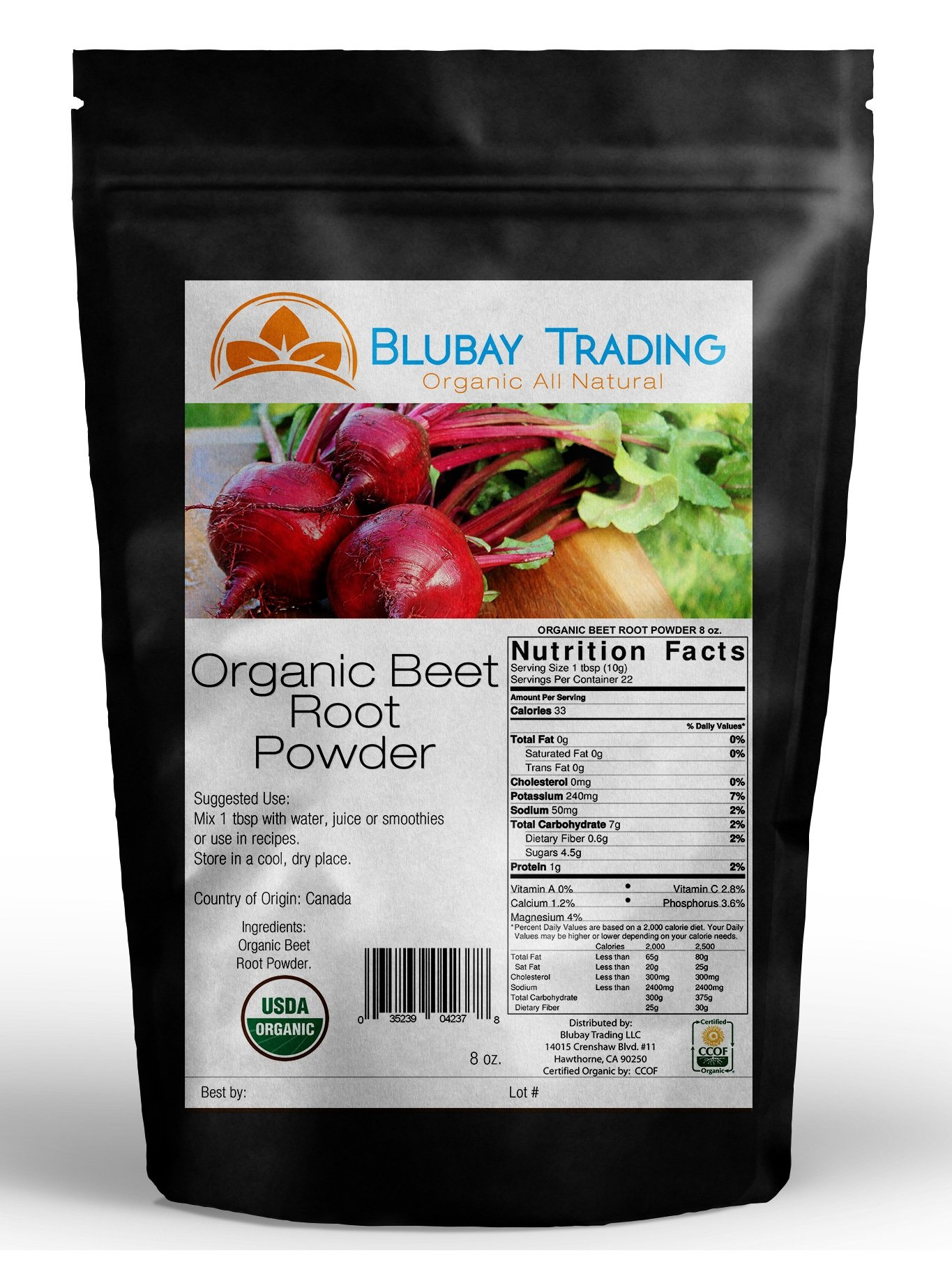 Pure Beet Root Powder Non-GMO Gluten-Free Natural Nitrates 8oz (8 Ounces)