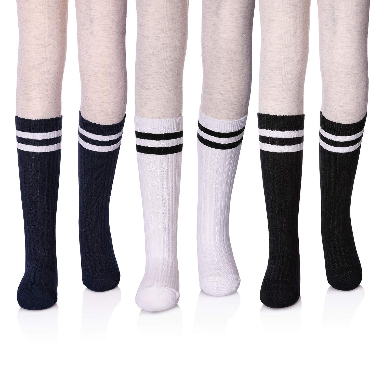 LANLEO Girls School Uniform Mid-Calf Cotton Socks Classic Stripes Athletic Soccer Tube Socks 3 Pack