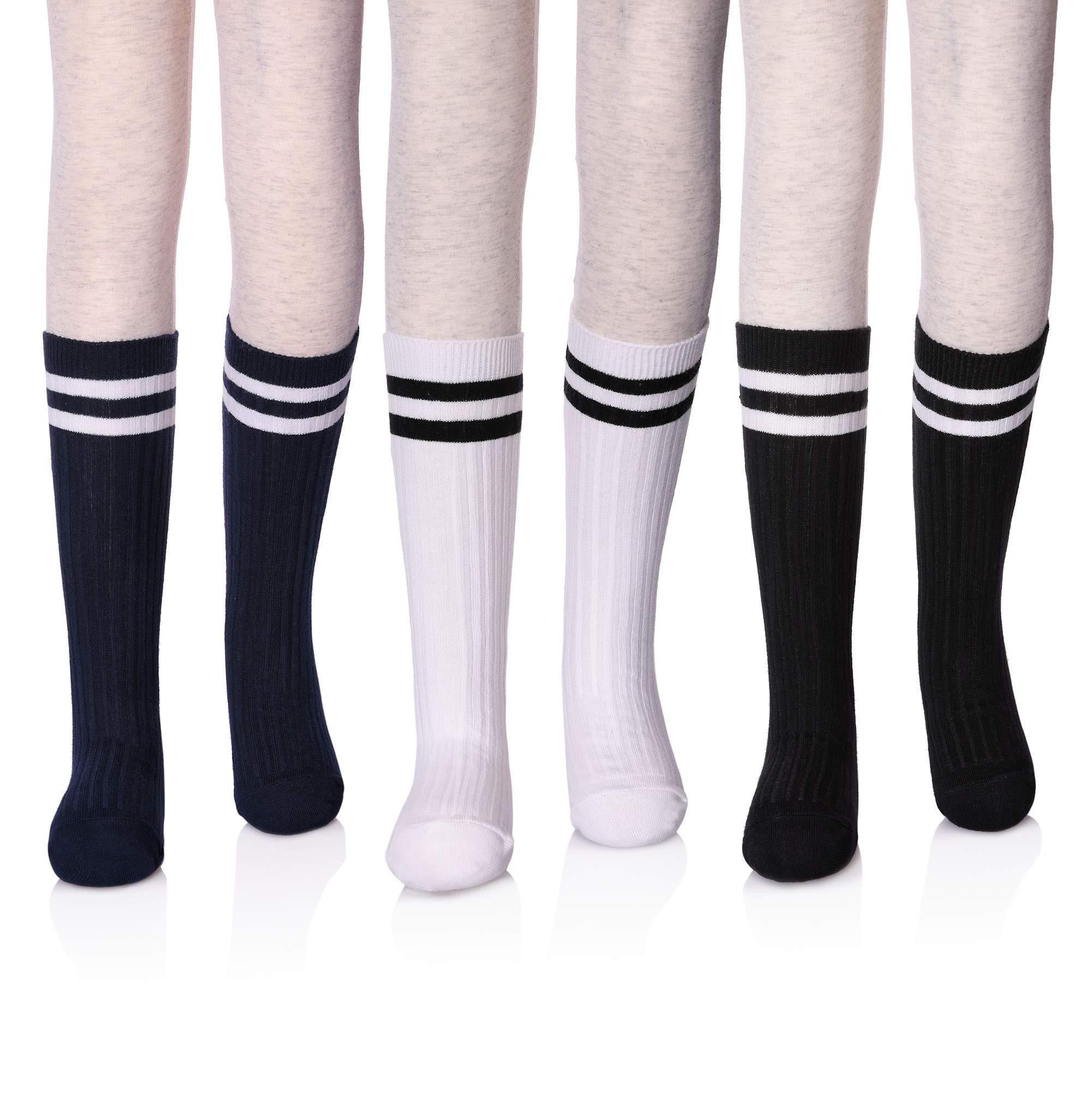 LANLEO Girls School Uniform Mid-Calf Cotton Socks Classic Stripes Athletic Soccer Tube Socks 3 Pack (3 Pairs Black/White/Navy, 9-12 Year Old)