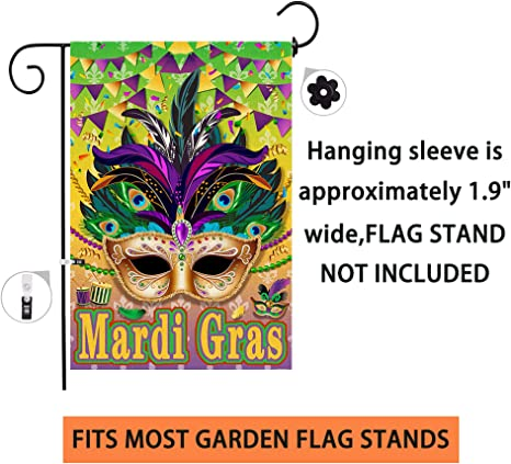 Amazon Com Hexagram Mardi Gras Garden Flag Double Sided Decorative Burlap Flags 12x18inch Masquerade Mask Fleur De Lis Carnival Party Signs Holiday Yard Outdoor Decoration Garden Outdoor