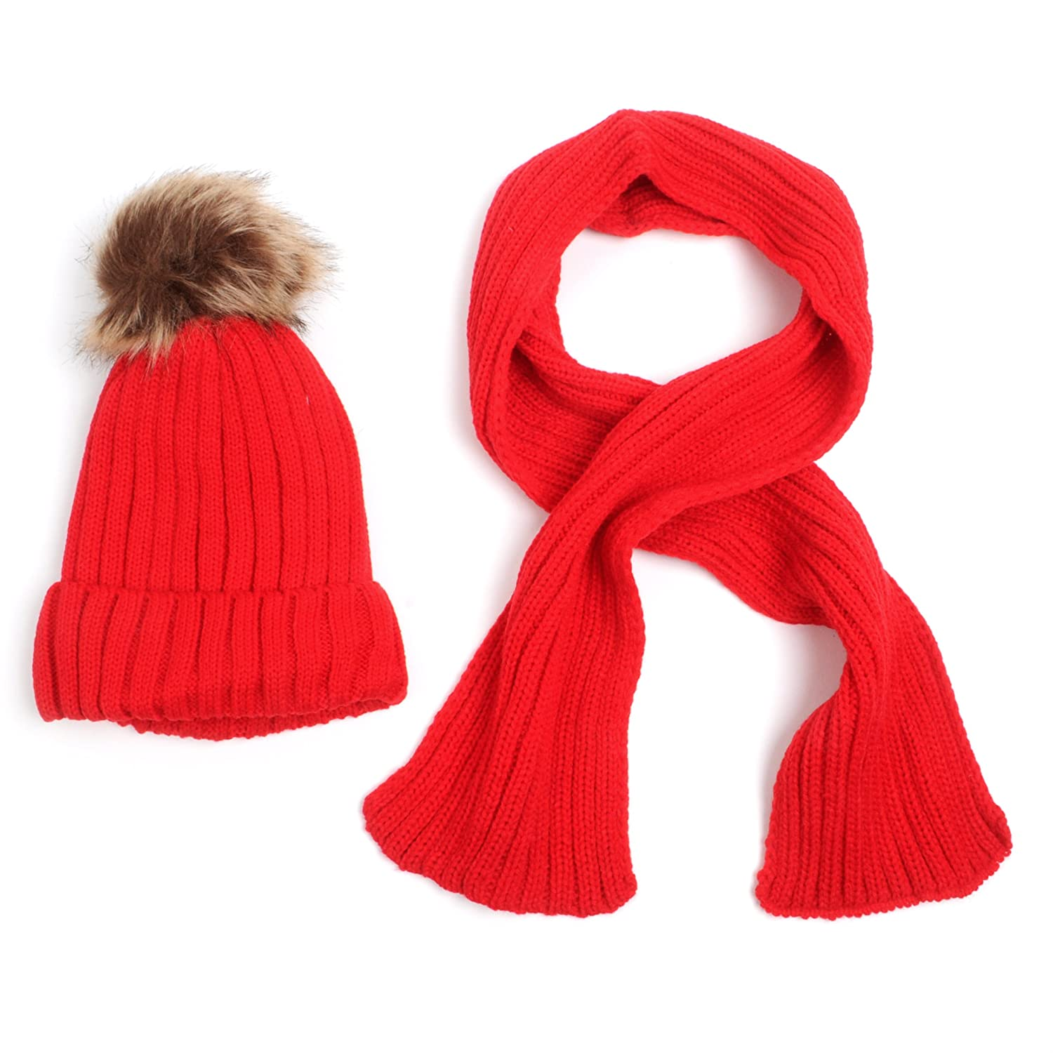 Kid's Classic Knitted Winter Hat and Scarf Set