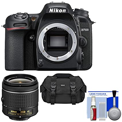 Nikon D7500 Wi-Fi 4K Digital SLR Camera Body with 18-55mm G VR AF-P Lens +  Case + Kit (Renewed)
