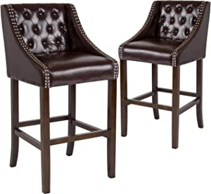 Taylor + Logan 30 Inch High Transitional Tufted Walnut Barstool with Accent Nail Trim, Set of 2, Brown Leather