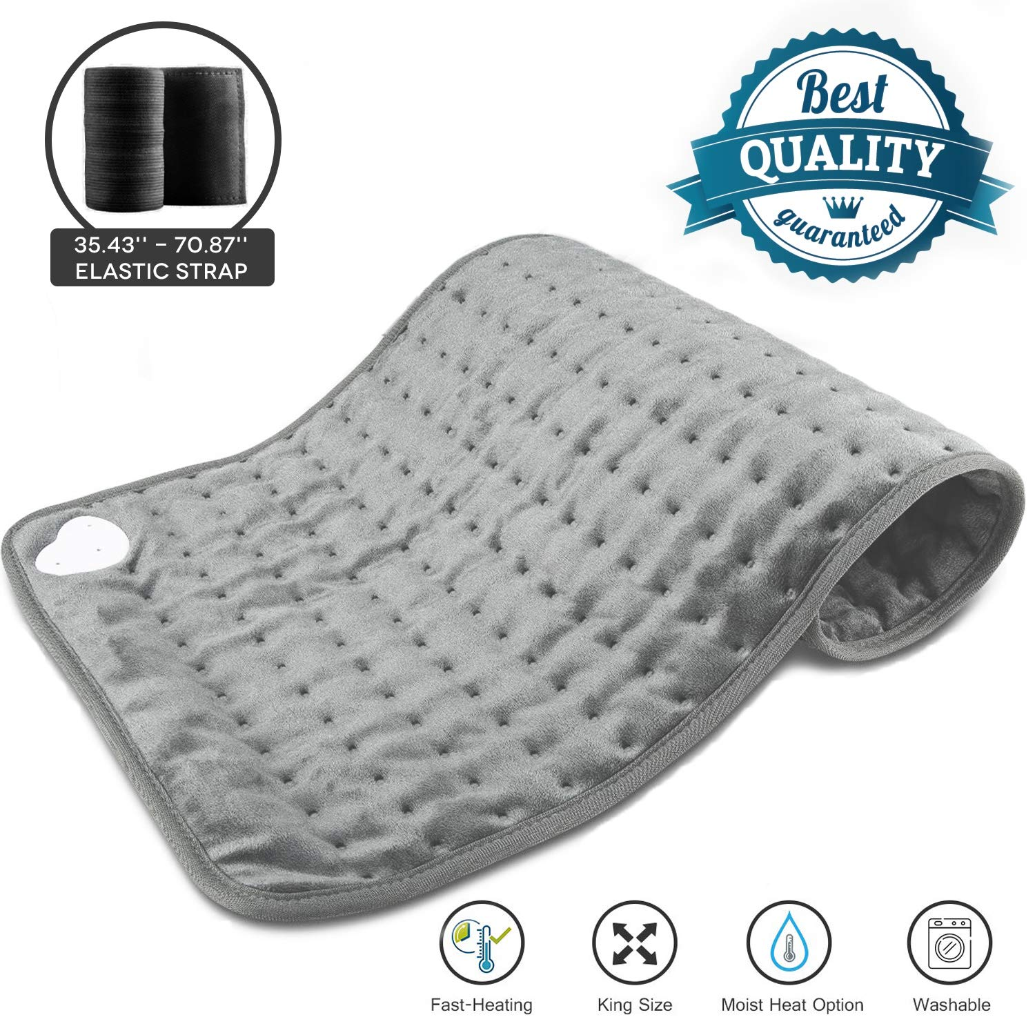 Heating Pad,24''x12'' Large Soft Electric Heating Pad for Neck Back Abdomen Pain Relief,Dry Moist Heat Therapy Option,6 Heat Settings,4 Timer Settings,1 Elastic Strap,Machine Washable,Auto Shut Off by lesotc