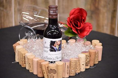 Botella personalizada vino enlace regalo para boda foto novia borde punta (pack de 12 botellas): Amazon.es: Alimentación y bebidas