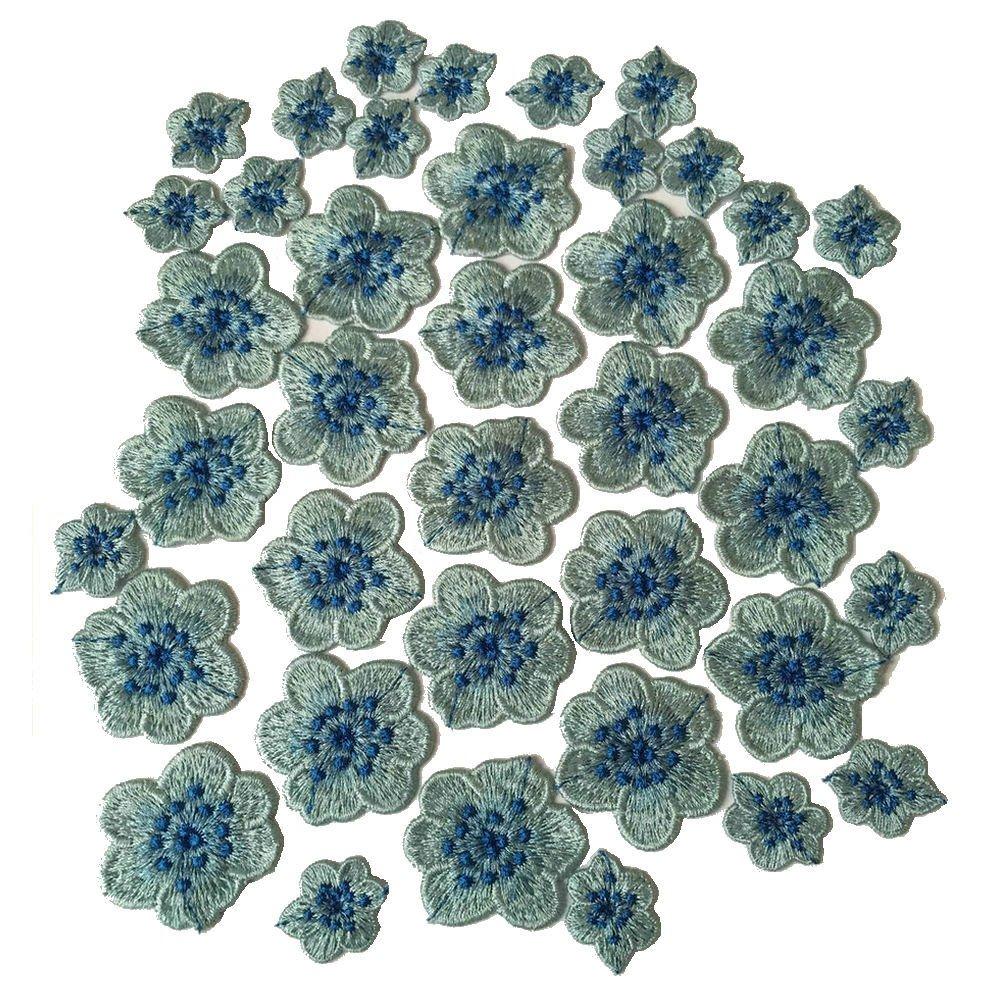 Plumひまわり花刺繍アップリケSew Onパッチ衣服アクセサリー ブルー Z1600301  ブルーB B077N1N3WD