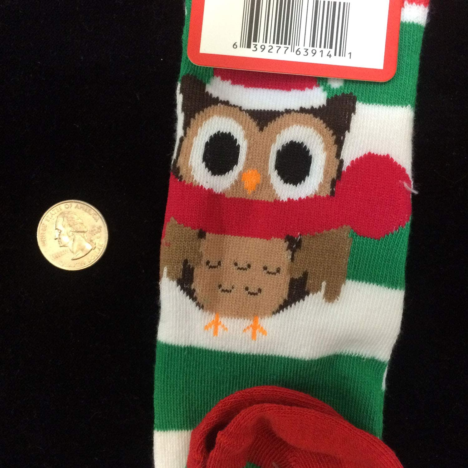 Details about  /Owl Santa Red Green Striped Xmas Holiday Knee High Socks~Shoe Size 5-9