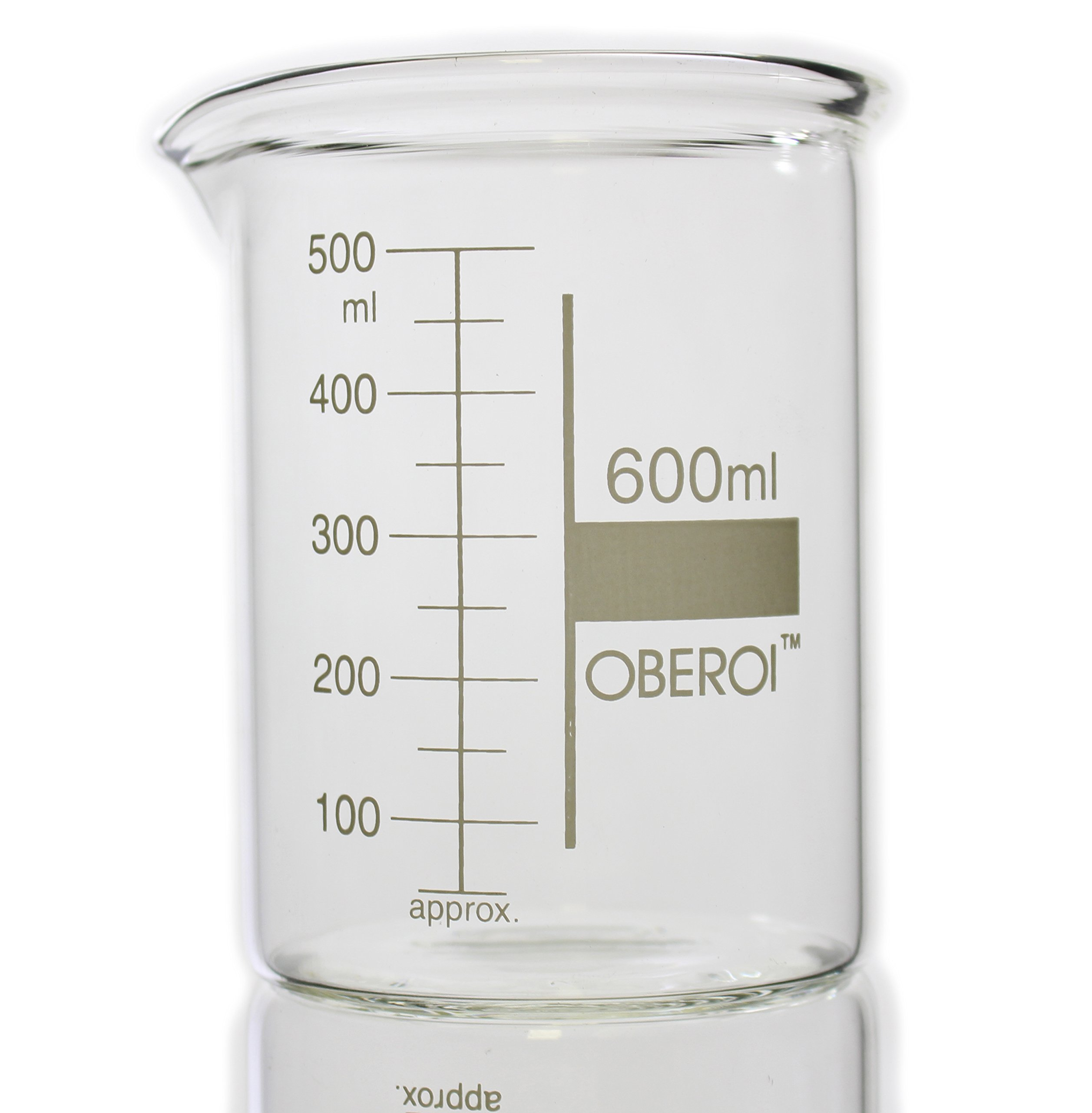 600 ml Glass Beaker, Low Form, Graduated with Spout