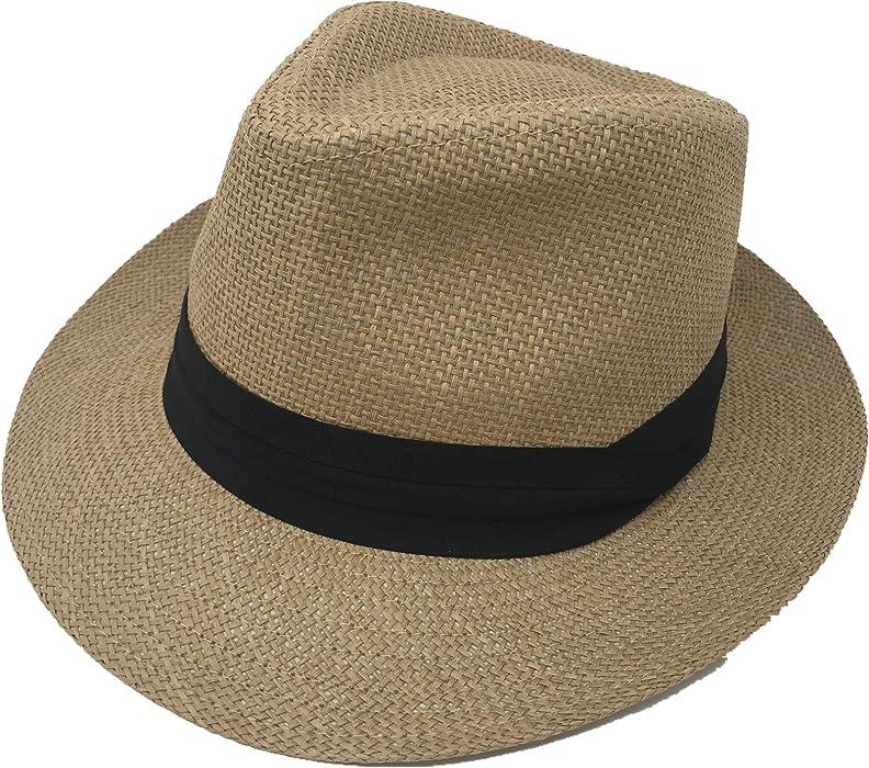 c11b10df Pro.fashion Stylish Classic Straw Unisex Panama Hat with Band, 2-inch Wide