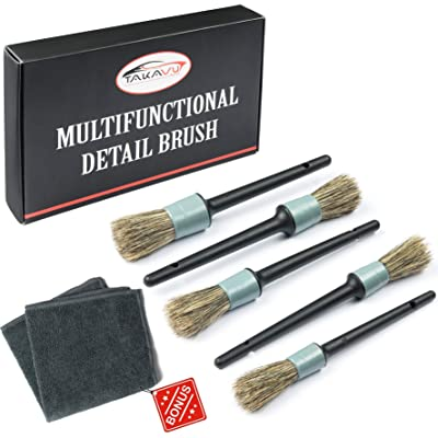 Master Detailing Brush Set - 5 Different Sizes - Free Microfiber Towel - Premium Natural Boar Hair - Plastic Handle - No Shed Bristles - For Cleaning Engine, Wheel, Interior, Air Vent, Car, Motorcycle: Automotive