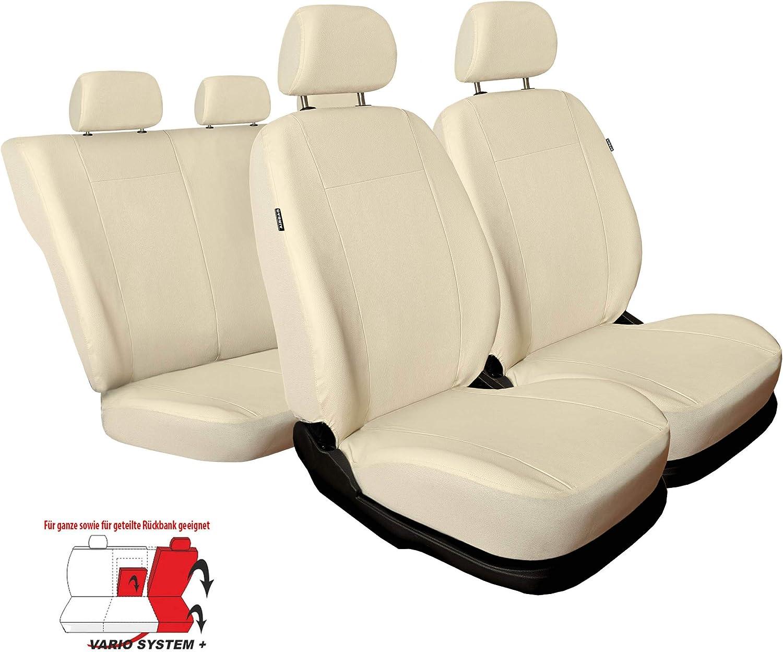f/ür Vordersitze und R/ückbank Auto Sitzbez/üge Kunstleder Beige mit Airbag 1+1 Autositze vorne und 1 Sitzbank hinten teilbar 2 Rei/ßverschl/üsse 3er Set Saferide Autositzbez/üge PKW universal