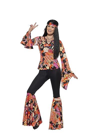 SmiffyS 45516X2 Disfraz De Chica Hippy Con Parte De Arriba, Pantalón Y Pañuelo, Multicolor, Xxl - Eu Tamaño 52-54