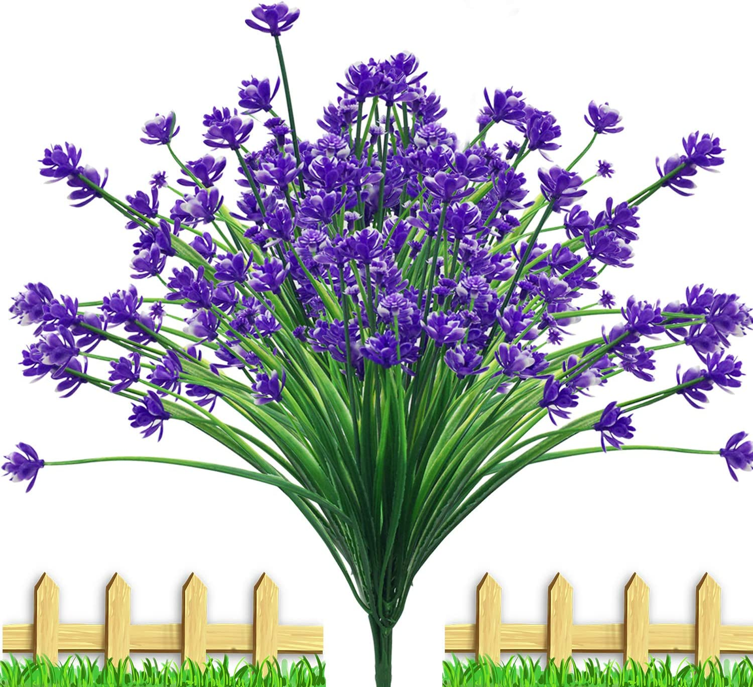 Artificial Fake Flowers Outdoor 24 Packs, UV Resistant Plants Faux Plastic Indoor Outside for Patio Window Box Indoor Outside Hanging Planter Garden Decor(Purple)