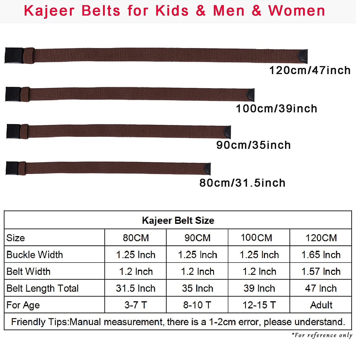 Cut To Fit Adjustable Belts 2Pcs Black, 31.5 2Pack Uniform Belt with Flip Top Buckle for Kids Boys Girls 80CM Boys Mans Canvas Web Belts